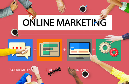 Online Marketing Business Content Strategy Target Concept Stock Photo