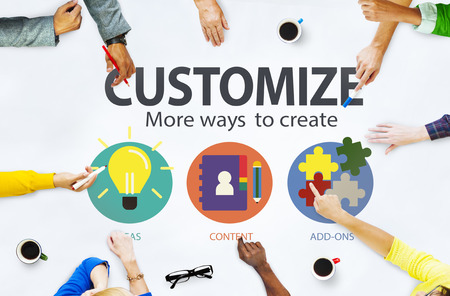 personal service: Customize Ideas Identity Individuality Innovation Personalize Concept Stock Photo