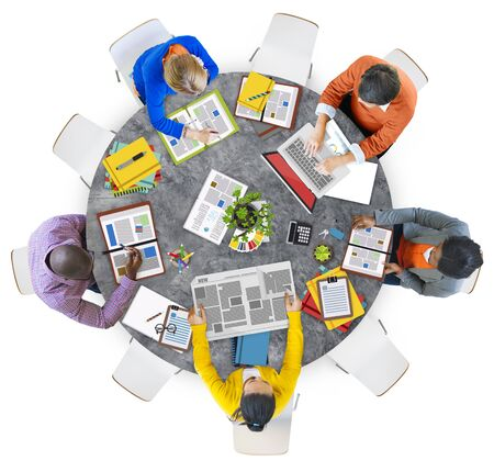 aerial: Aerial View of People with Digital Devices Stock Photo