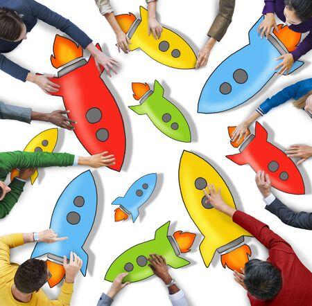 rocketship: Diverse People Holding Colorful Rocketships