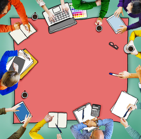 asian man laptop: Busy Multiethnic Group of People Brainstorming Illustration Stock Photo