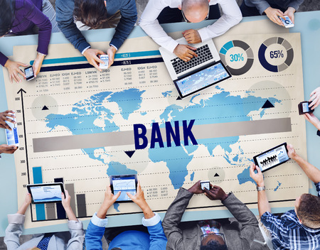 Banco Finanzas Banco de Inversiones del concepto del dinero Foto de archivo - 41423759