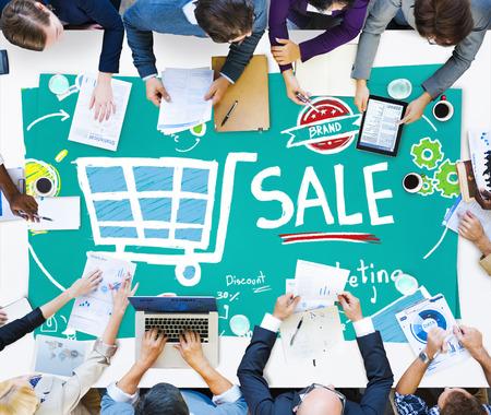 Venta de Marketing Análisis Etiqueta de precio Branding Visión Compartir Concepto Foto de archivo