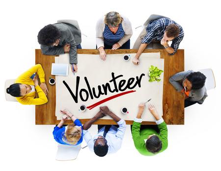 single word: People in a Meeting and Single Word Volunteer