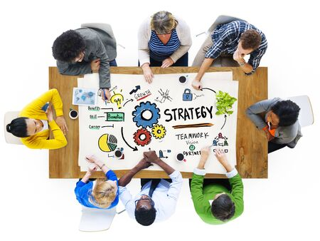 group solution: Strategy Solution Tactics Teamwork Growth Vision Concept