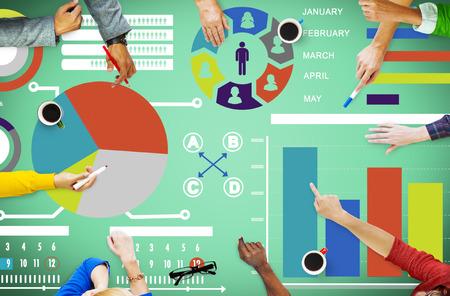 バー グラフのグラフ データ情報 Inforgraphic レポートの概念