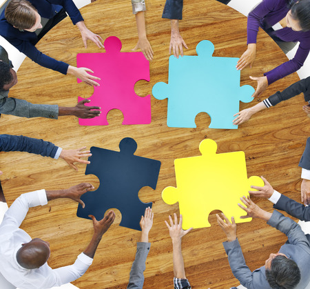 asian business group: Business People Connection Corporate Jigsaw Puzzle Concept
