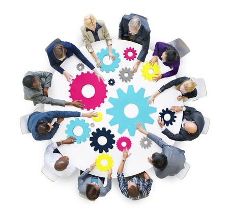브레인 스토밍 코그 협업 팀 공생 개념 스톡 콘텐츠