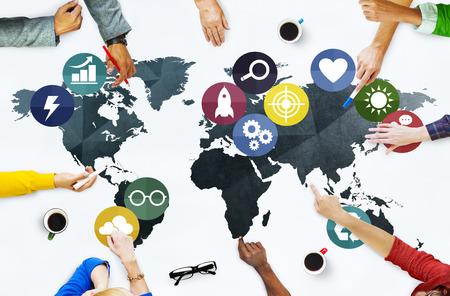 Globální komunikace svět Earth Connection Network Concept