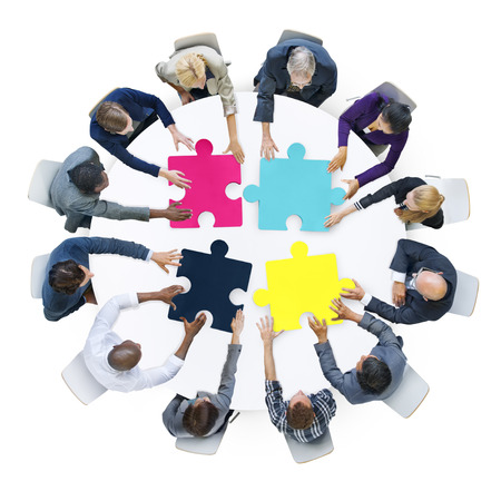 business support: Business People Connection Corporate Jigsaw Puzzle Concept