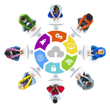 american downloads: People Social Networking and Cloud Computing Concept Stock Photo