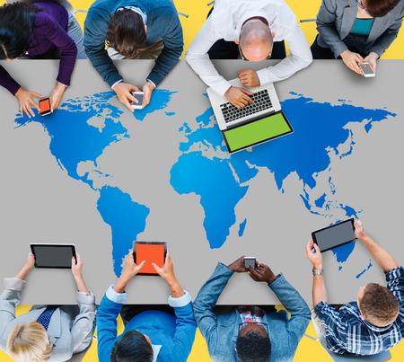 Wereld Global Cartografie Globalisering Earth International Concept Stockfoto