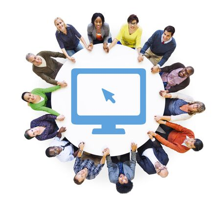 Multiethnic Group of People Holding Hands with Computer Symbol photo
