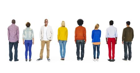 contrasts: Diverse People Contrasts Standing Out From The Crowd Stock Photo
