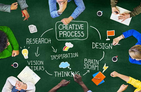 Creative Process and Research Innovation Concept Stock Photo
