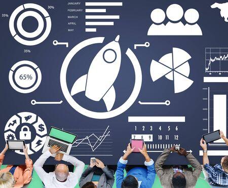 data: New Business Chart Innovation Teamwork Global Business Concept Stock Photo