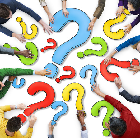 multiethnic: Multiethnic Group of People with Question Mark