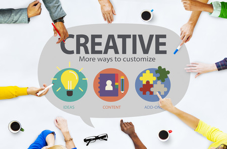 team vision: Creative Innovation Vision Inspiration Customize Concept Stock Photo