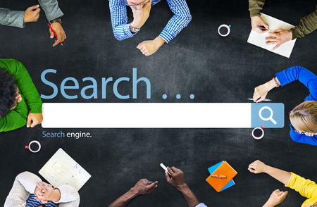 conclusion: Búsqueda Navega Encuentre Internet Search Engine Concept Foto de archivo