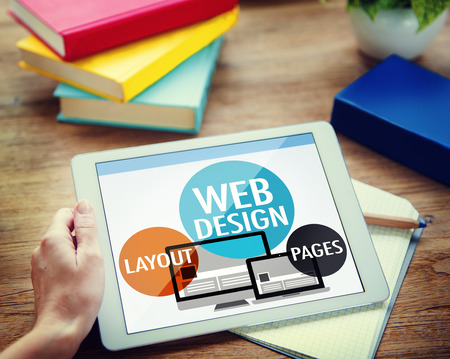 Web デザイン コンテンツ創造的なウェブサイトの応答性概念 写真素材