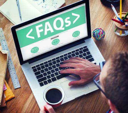 Numérique en ligne FAQ Office communautaire Concept de travail Banque d'images - 41426834