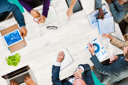 Group Of Business Discussion Cooperation Strategy Concept Stock Photo