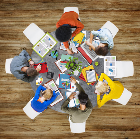 it support: Aerial View People Teamwork Working Studying Contemporary Office Stock Photo
