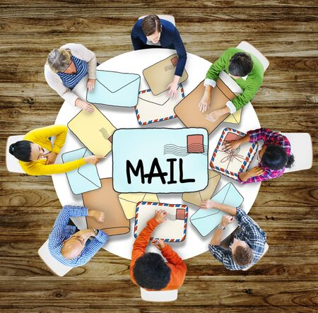 air mail: Air Mail Email Post Information Correspondance People Concept Stock Photo