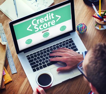 Digital puntuación de crédito en línea Finanzas Clasificación Record Concepto Foto de archivo - 41432017