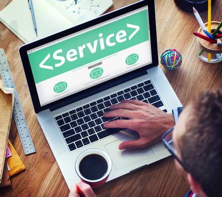 online service: Digital Online Service Assistance Office Working Concept