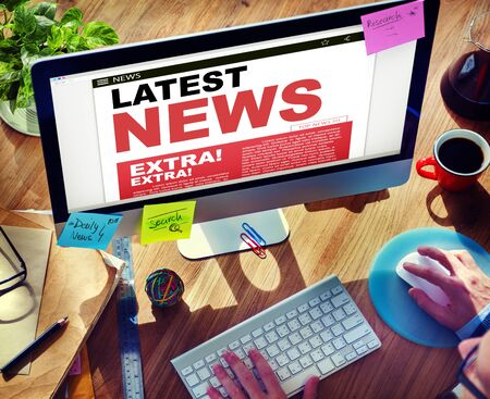 the latest: Digital Online Update Latest News Concept Stock Photo