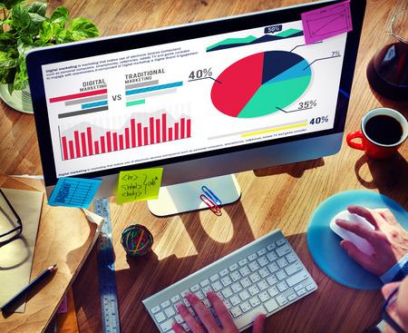 디지털 마케팅 그래프 통계 분석 금융 시장 개념