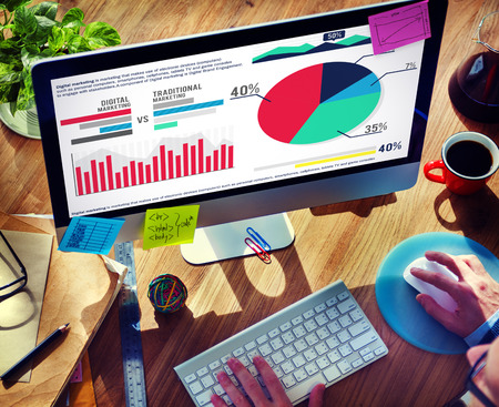 Digital Marketing Graph Statistics Analysis Finance Market Concept Stock Photo