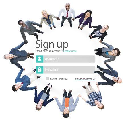 round collar: Sign Up Register Online Internet Web Concept Stock Photo