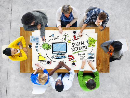 the social network: Social Network Social Media People Meeting Communication Concept Stock Photo