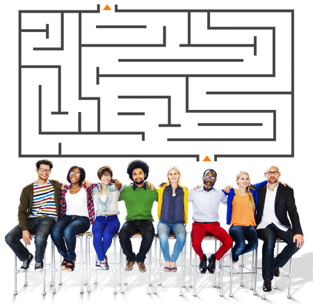 People with maze concept Stock Photo