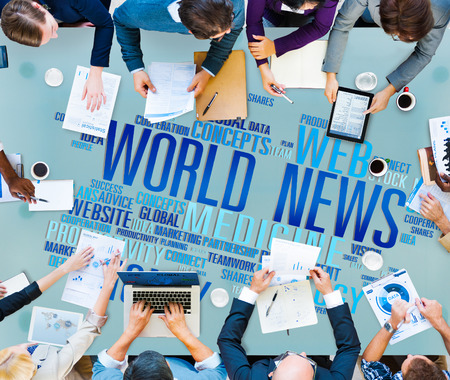 world event: World News Globalization Advertising Event Media Infomation Concept Stock Photo