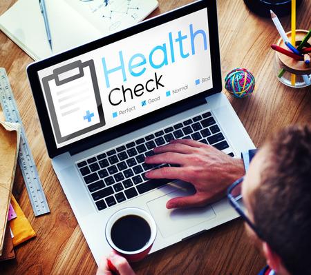 salud: Health Check Diagn�stico condici�n m�dica Concepto del an�lisis