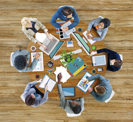 it support: Aerial View Business Contemporary Working Meeting Casual Company Concept