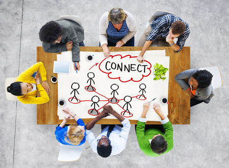 People in a Meeting and Connection Concept Stock Photo