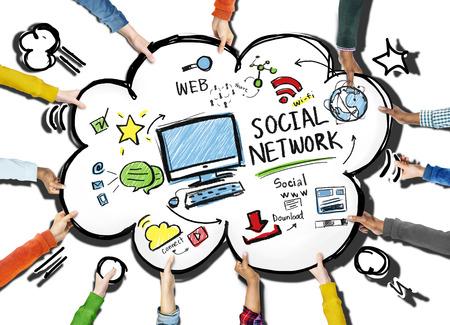 Social Network Social Media om mensen te ontmoeten Teamwork Concept