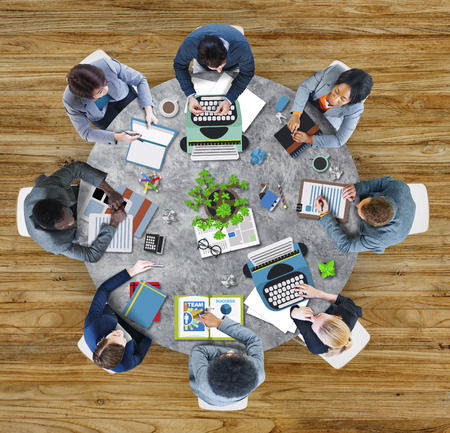 asian business meeting: Aerial View Business Contemporary Working Meeting Casual Company Concept
