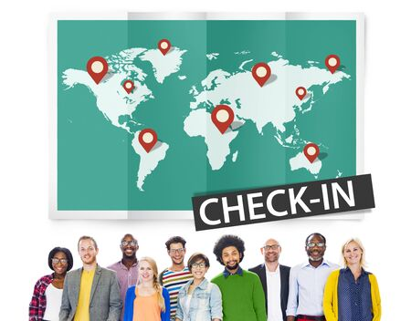travel locations: Check In Travel Locations Global World Tour Concept