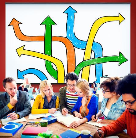 toma de decision: Concepto llegar Elecci�n Cambiar Cambiar la Toma de Decisiones Foto de archivo