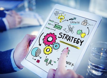 estrategia: T�cticas Solution Estrategia Trabajo en equipo Crecimiento Vision Concept Foto de archivo