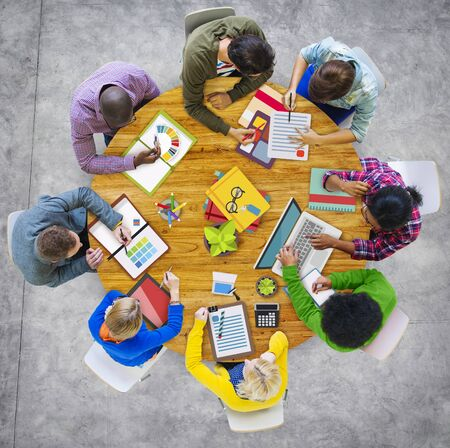 casual business meeting: Aerial View Business Contemporary Working Meeting Casual Company Concept