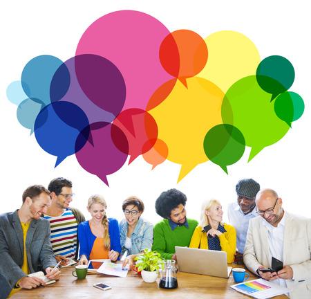 Casual People Message Talking Communication Concept Banque d'images