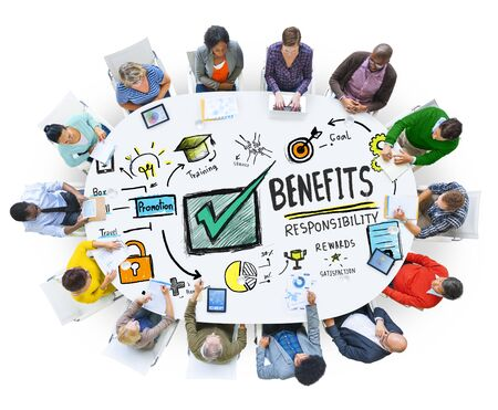 gain: Benefits Gain Profit Earning Income People Meeting Concept