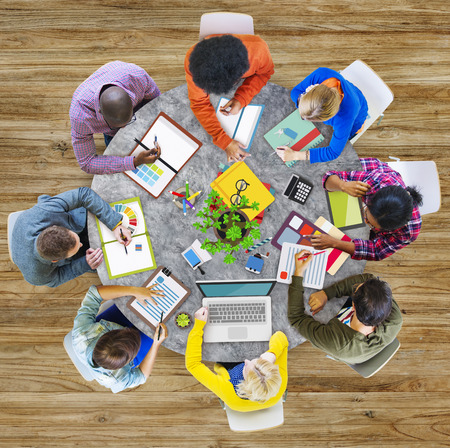 study group: Aerial View Business Contemporary Working Meeting Casual Company Concept
