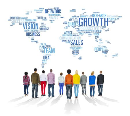 Global Business People Togetherness Rear View Growth Concept photo
